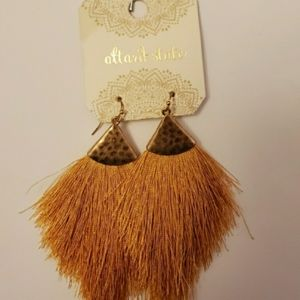 Boho Gold Tassle fringed pierced  Earrings